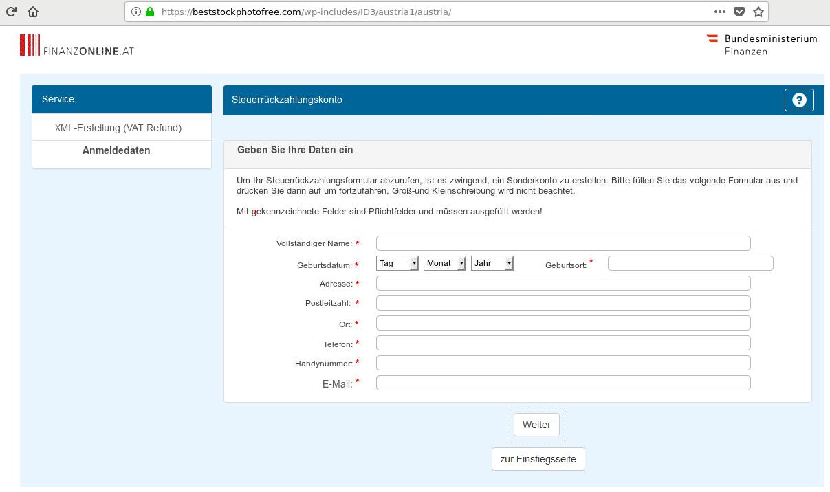 Screenshot des gefälschten Portals