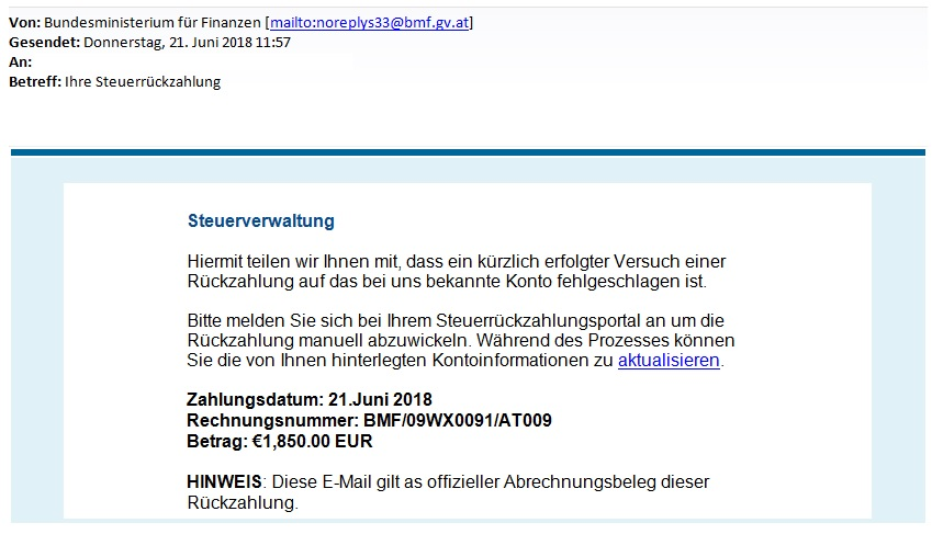 Screenshot der Phishing-Mail